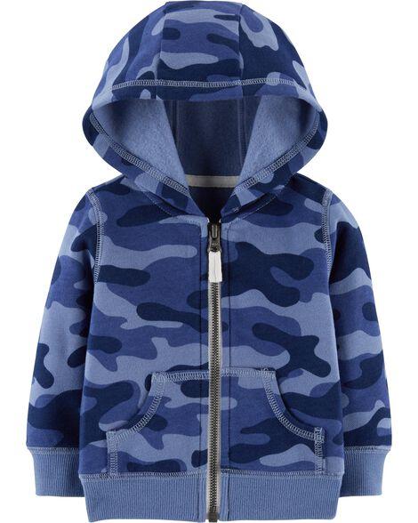 Camo Zip-Up Fleece Hoodie