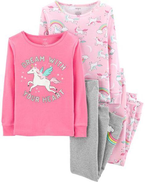 eddbacbe8d28 4-Piece Unicorn Snug Fit Cotton PJs