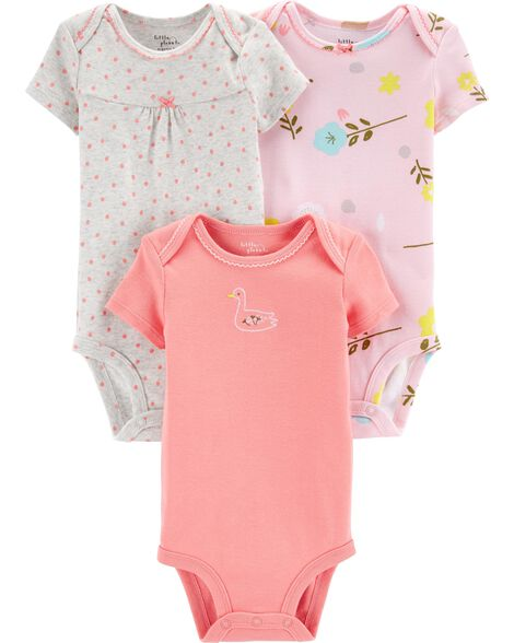 3-Pack Floral Certified Organic Bodysuits