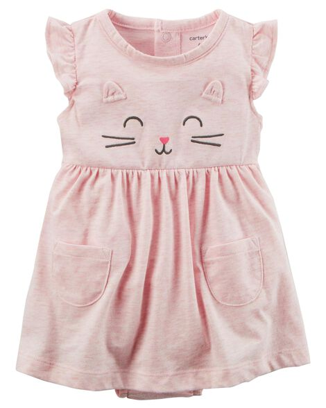 2-Piece Heathered Bodysuit Dress & Cardigan Set