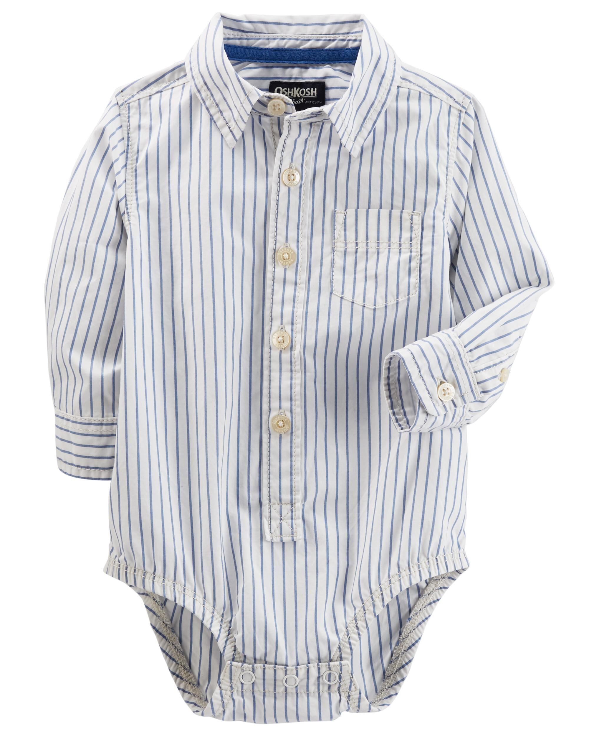 Baby Boy Button Front Poplin Bodysuit