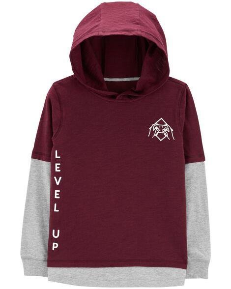 Hooded Layered-Look Tee