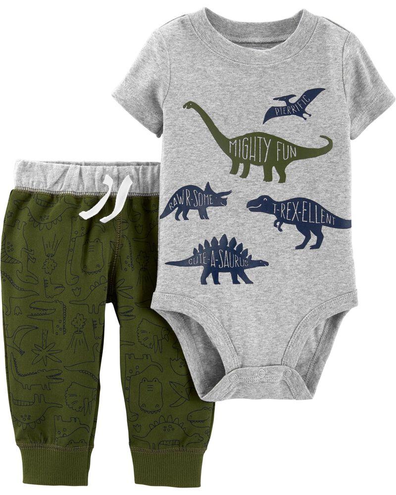 CARTER/'S BABY BOY 2PC DINOSAUR BODYSUIT CAMOUFLAGE JOGGER PANTS SET 9M CLOTHES