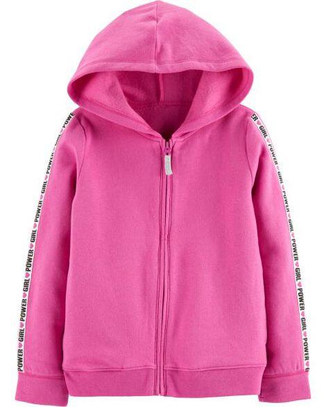 Girl Power Zip-Up Fleece Hoodie