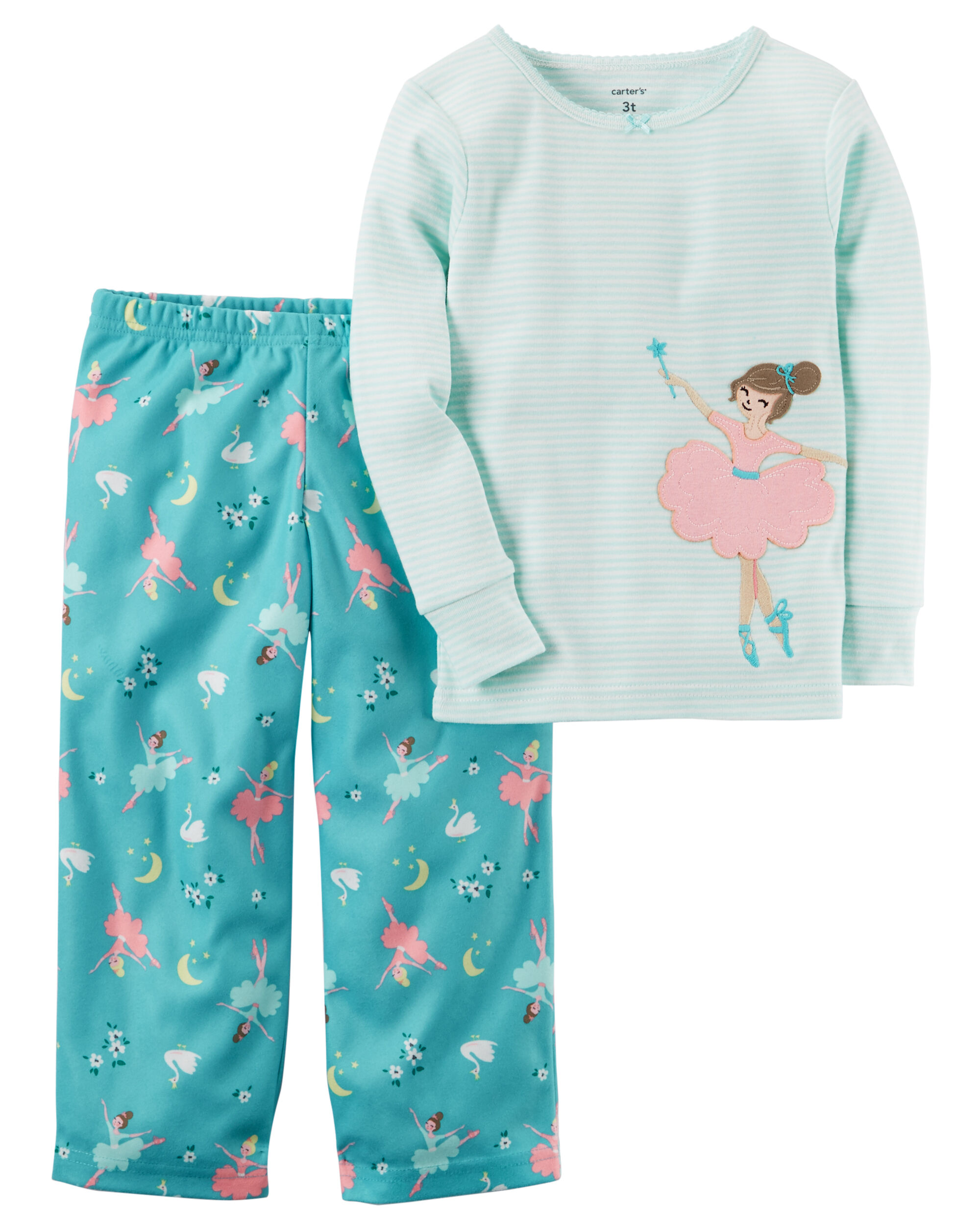 2-Piece Ballerina Cotton & Fleece PJs