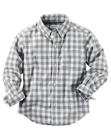 Poplin Checkered Button-Front Shirt