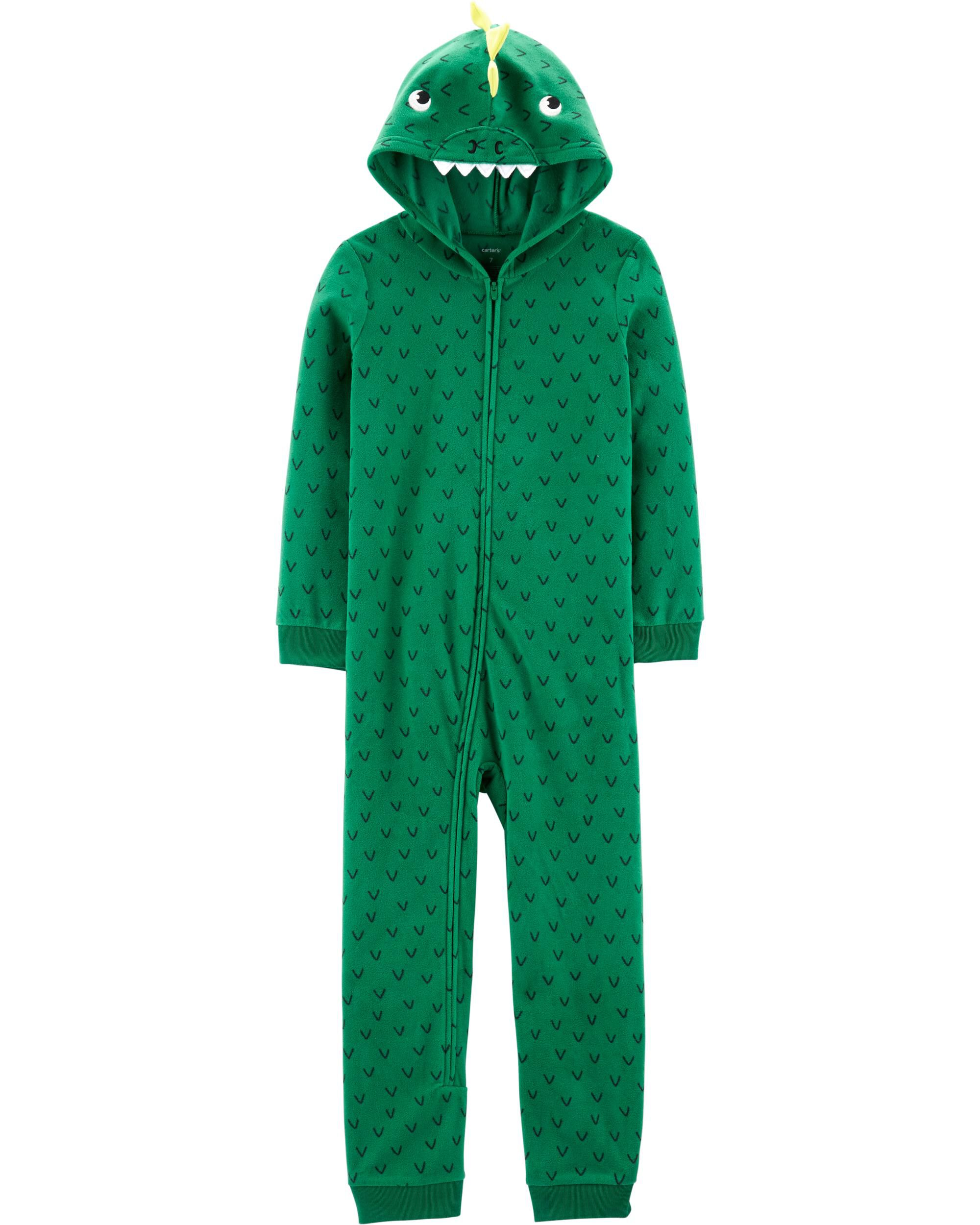 *CLEARANCE* 1-Piece Dinosaur Hooded Fleece Footless PJs