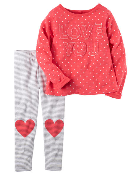 84db514badc37 2-Piece Valentine's Day Top & Legging Set | Carters.com