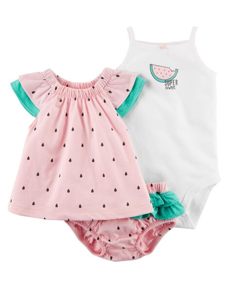 6f010fdbb 3-Piece Watermelon Bodysuit   Diaper Cover Set