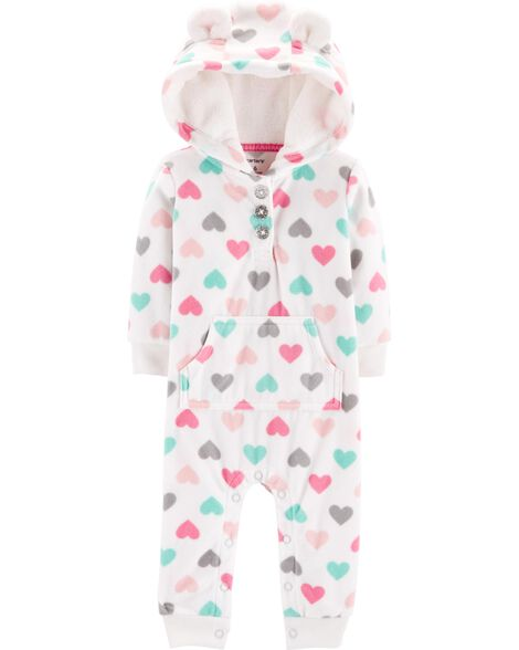 81158a7ae Heart Hooded Fleece Jumpsuit