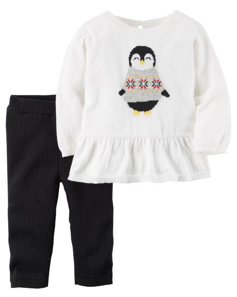 c01f25886e52 2-Piece Penguin Peplum Top   Cotton Pant Set