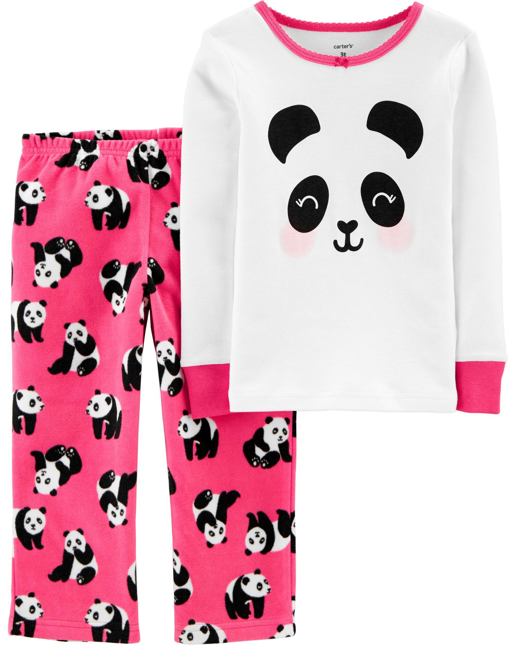 *CLEARANCE* 2-Piece Panda Snug Fit Cotton & Fleece PJs