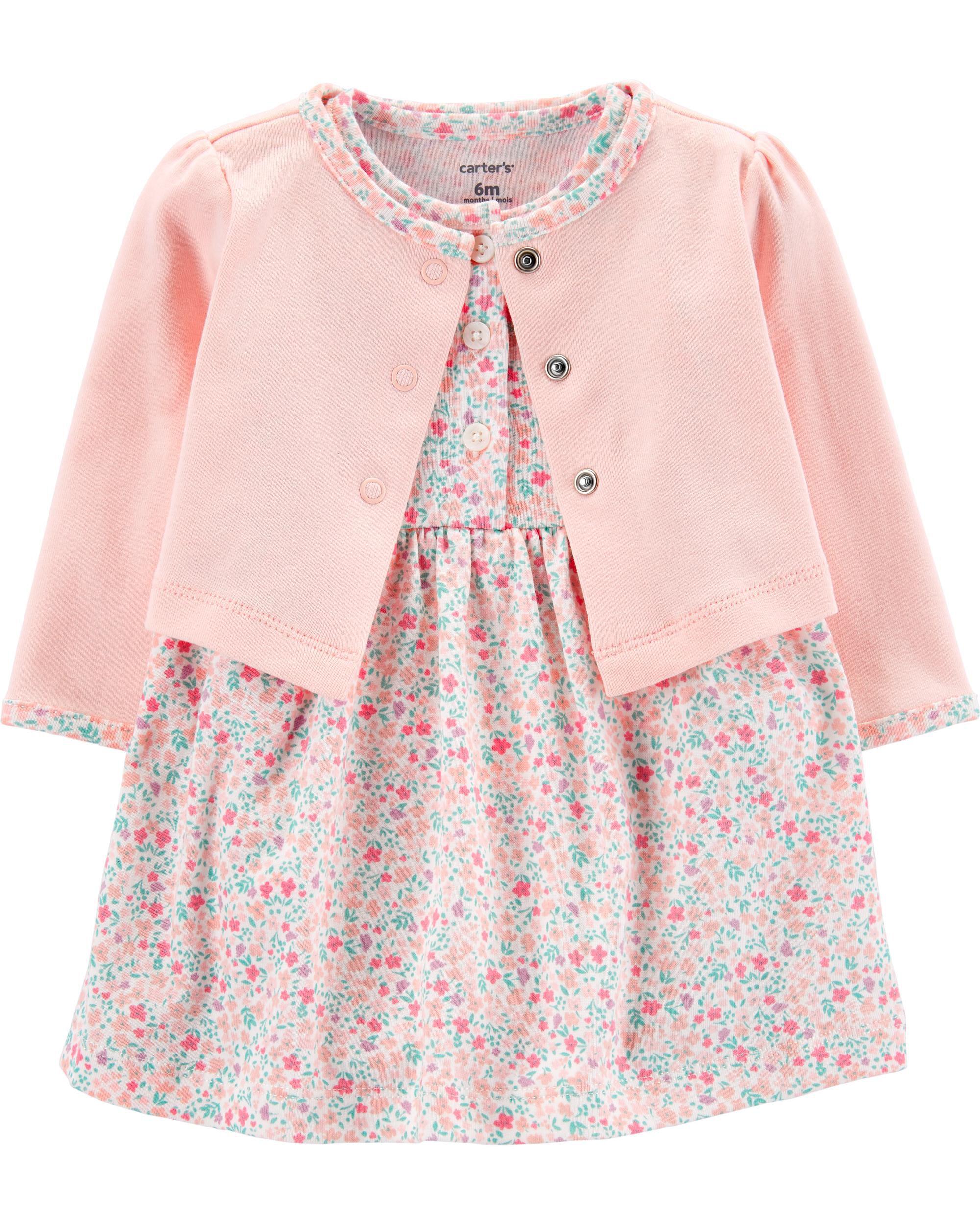 2 Piece Floral Bodysuit Dress & Cardigan Set  
