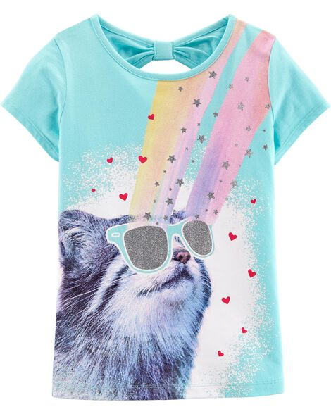 5dfd5ba5e $4.00 *DOORBUSTER* Rainbow Cat Bow Tee