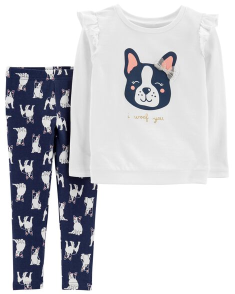 2-Piece French Bulldog Sweatshirt & Legging Set