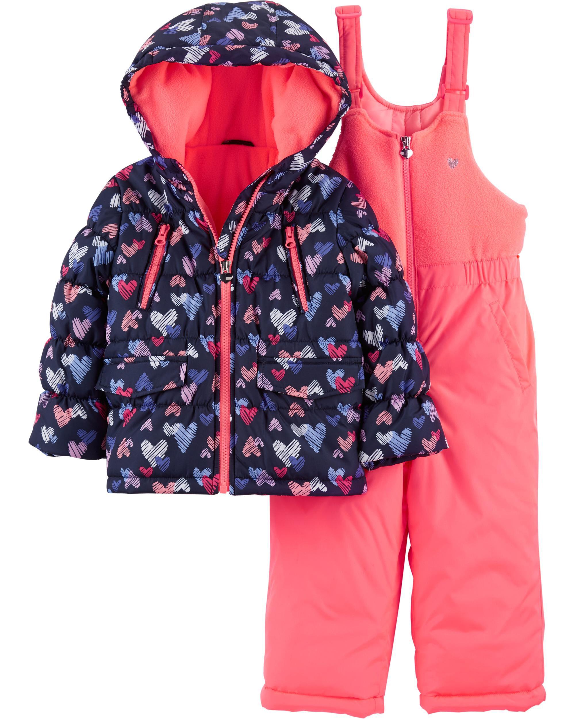 187fed6f0 Toddler Girl 2-Piece Heart Snowsuit Set   OshKosh.com