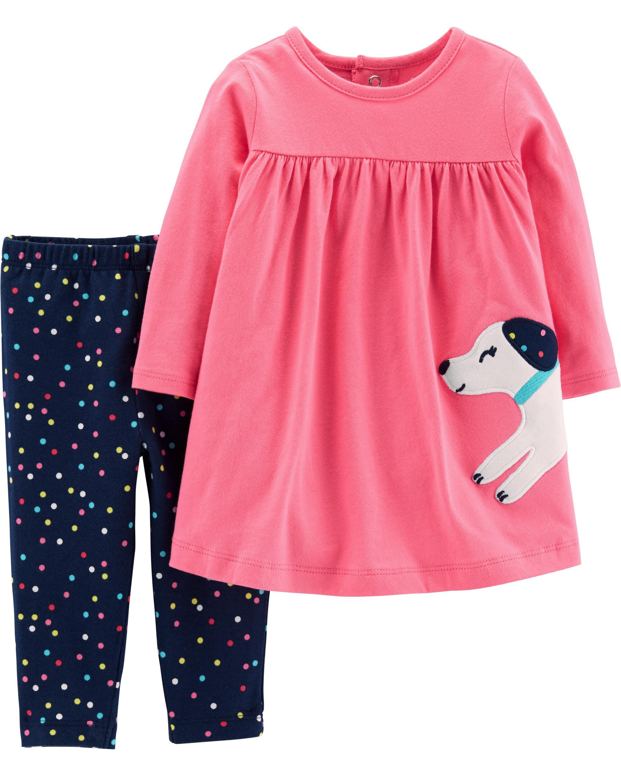 0a7e507e1 Baby Girl 2-Piece Dog Dress & Polka Dot Legging Set | Carters.com