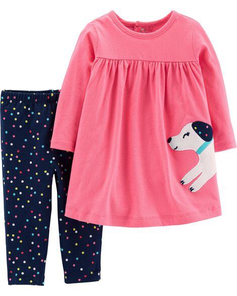 2-Piece Dog Dress & Polka Dot Legging Set