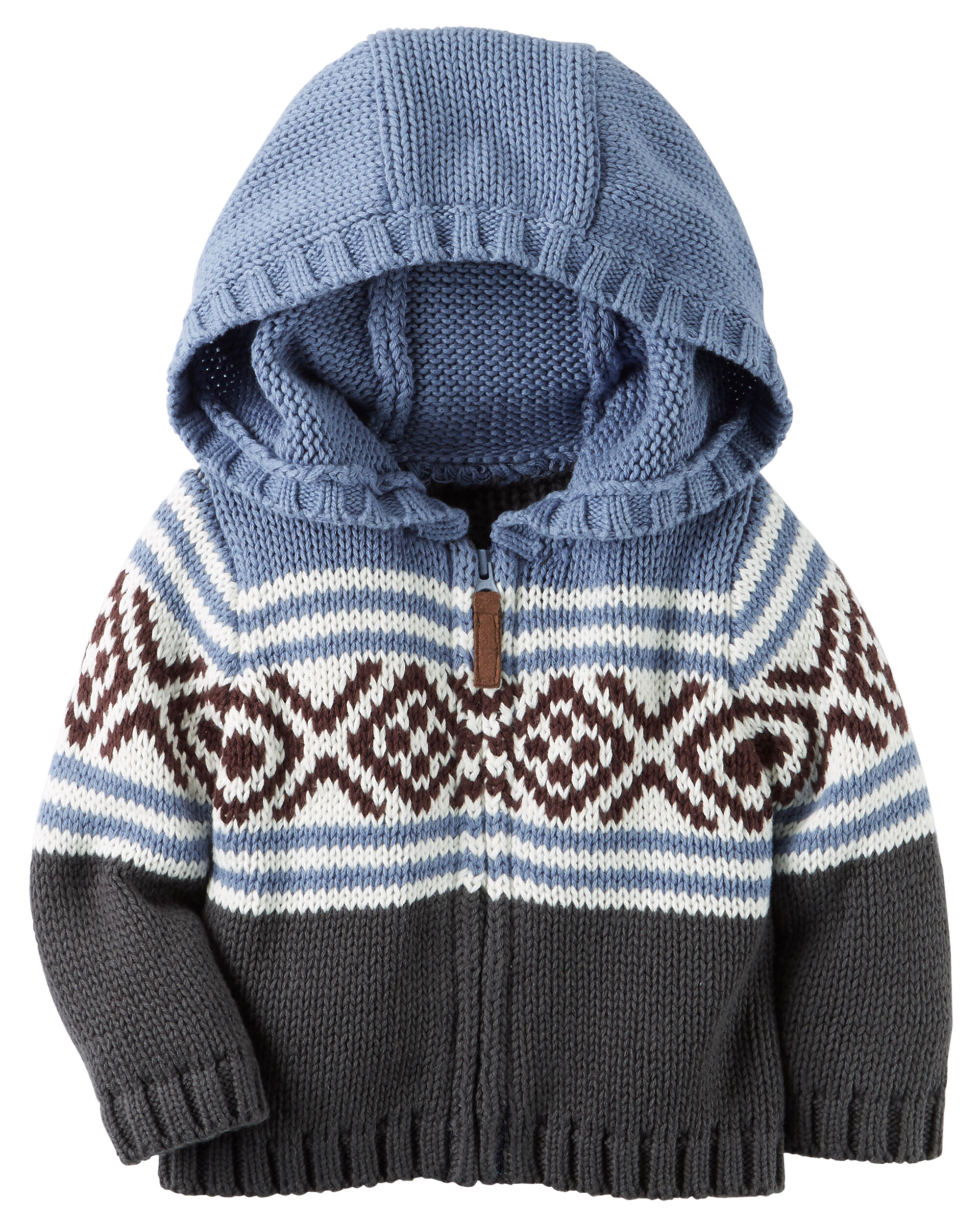 Hooded Zip-Front Fair Isle Cardigan | Carters.com