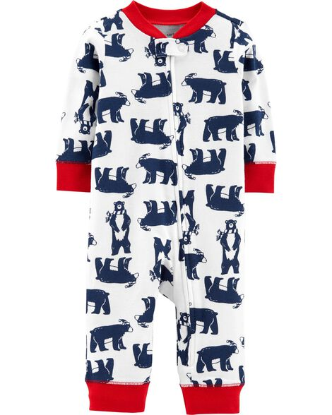 860a36387ce9 1-Piece Bear Snug Fit Cotton Footless PJs