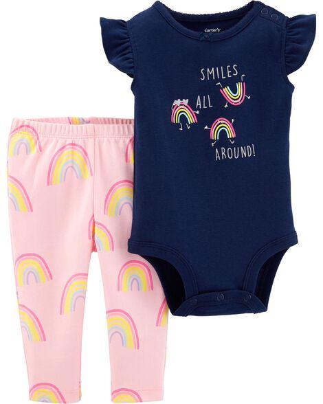 2-Piece Rainbow Bodysuit Pant Set