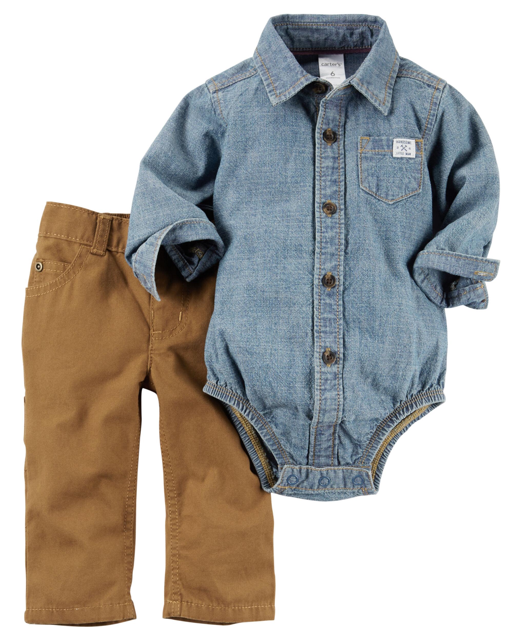 2 Piece Chambray Button Front Bodysuit Pant Set Carters Com