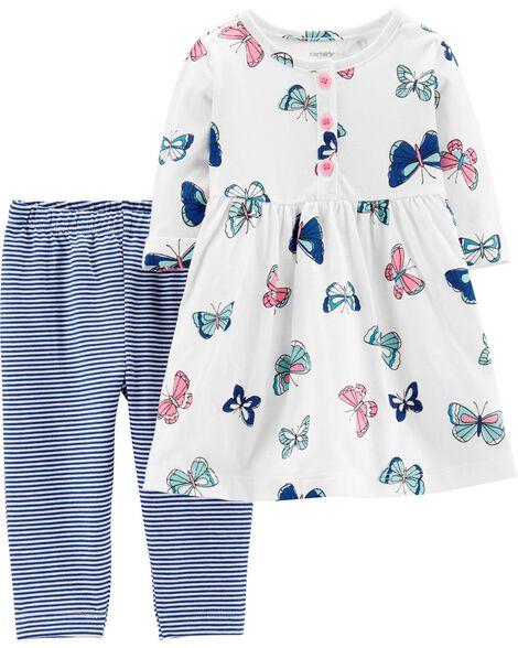 2-Piece Butterfly Dress & Striped Legging Set