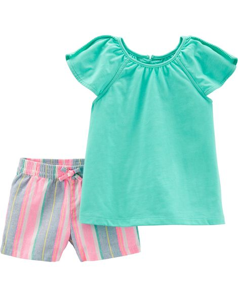 2-Piece Split Shoulder Top & Striped Linen Short Set