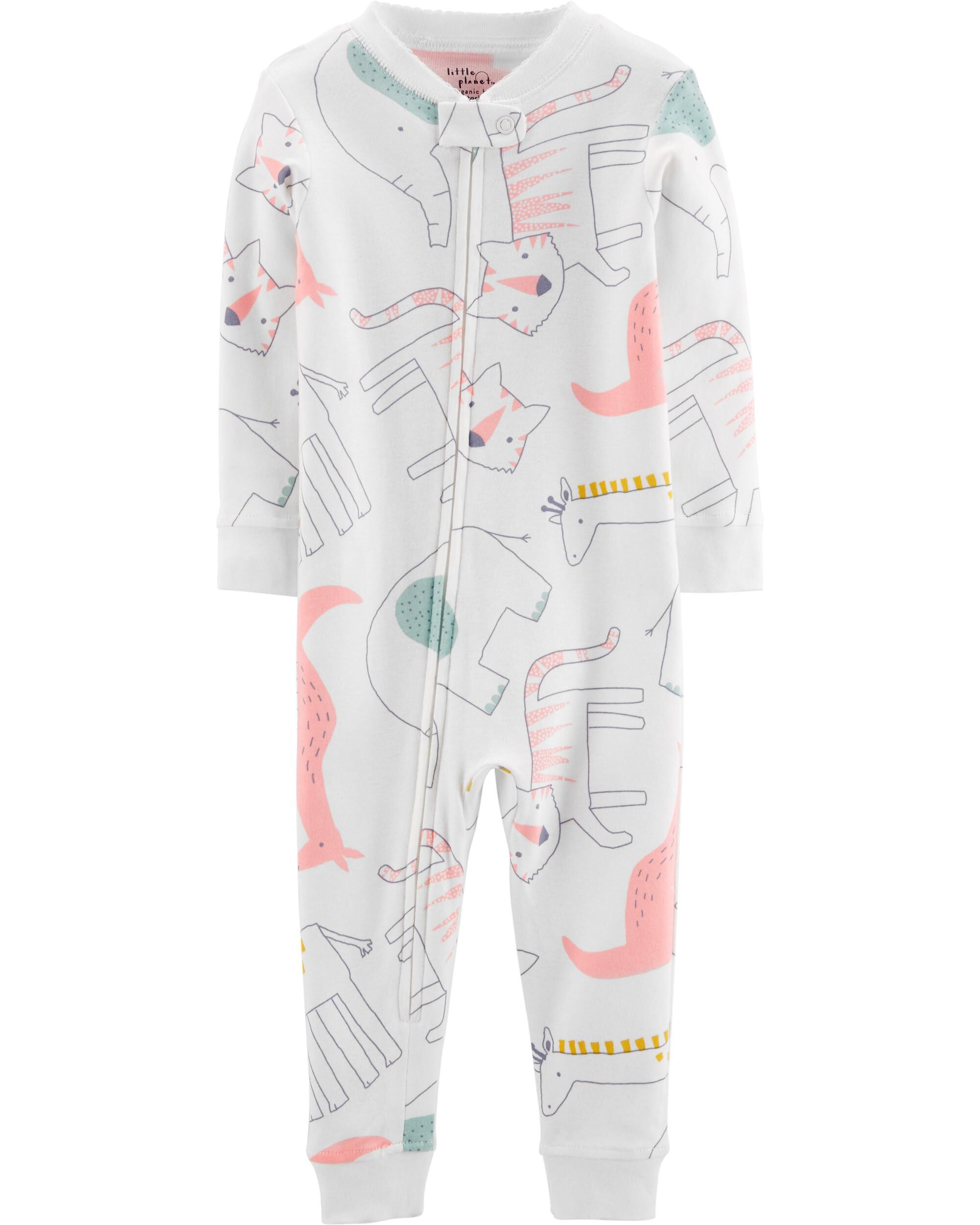 Carter/'s Hearts Pajamas Footless SNUG FIT Girls 2T 3T New Zip Up 1 Piece
