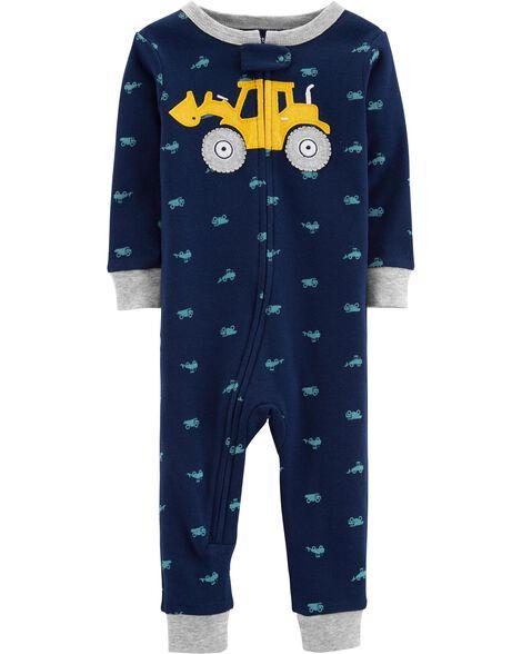 9058e9f3c 1-Piece Construction Snug Fit Cotton Footless PJs