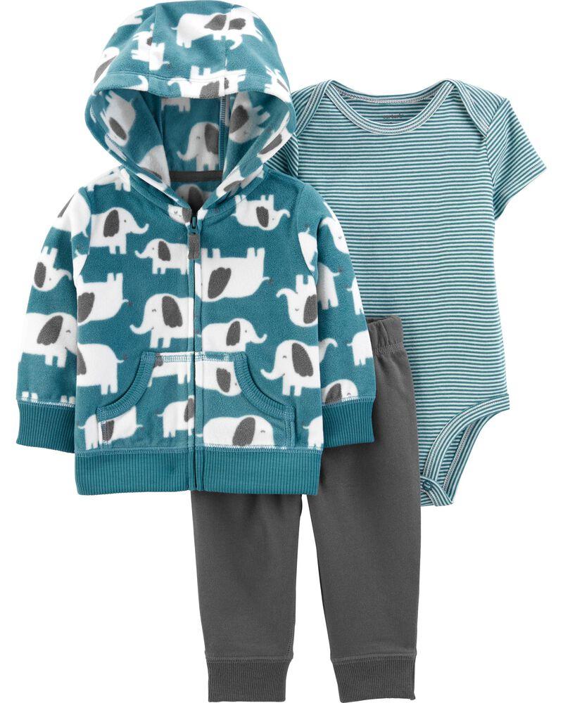 Lily /& Jack Baby Boys Three Piece Jacket Top /& Pants Set Elephant