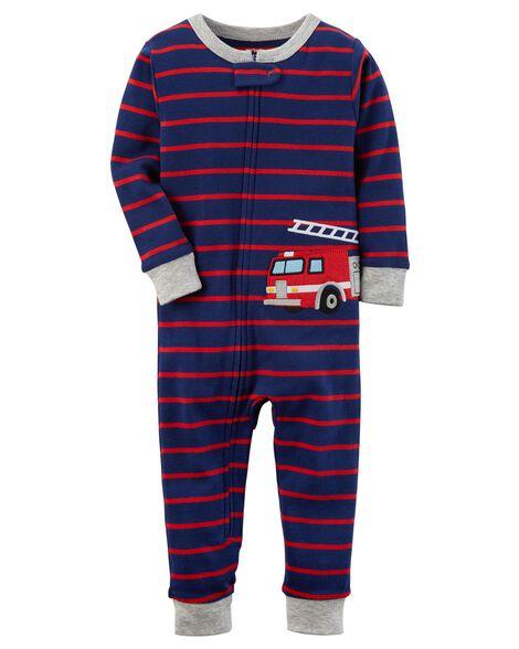 ac15ba204 1-Piece Firetruck Snug Fit Cotton Footless PJs
