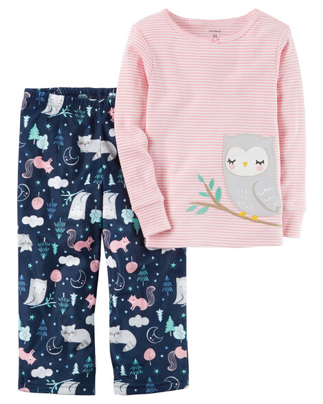 e7958fac44a6 2-Piece Owl Cotton   Fleece PJs