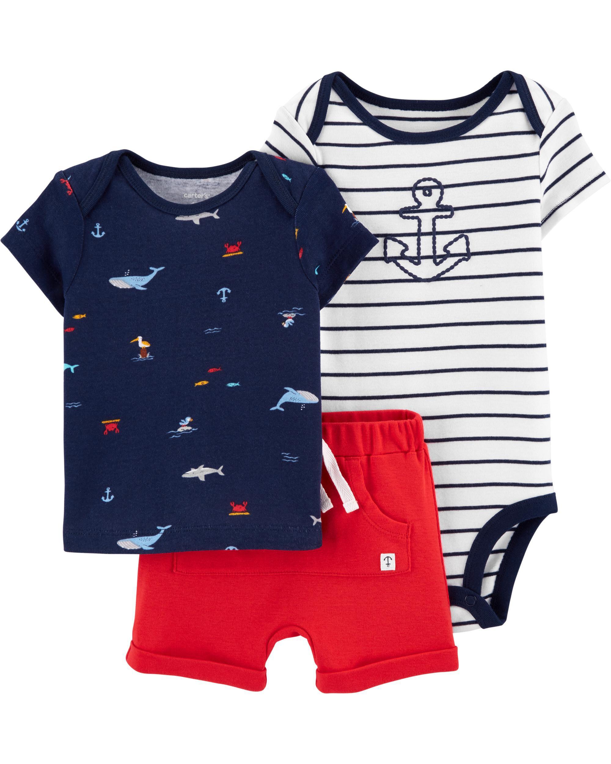 Carters Infants Baby Boys Fish Print 3 Piece Tank Shorts Pajama Set New