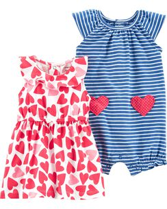 97b2ce79189 2-Piece Heart Dress   Striped Romper Set