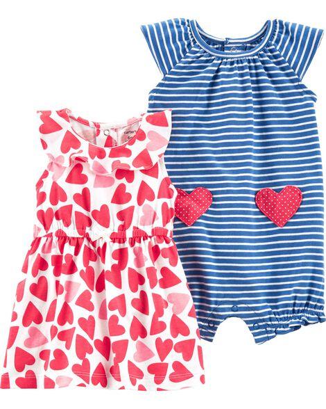 2-Piece Heart Dress & Striped Romper Set