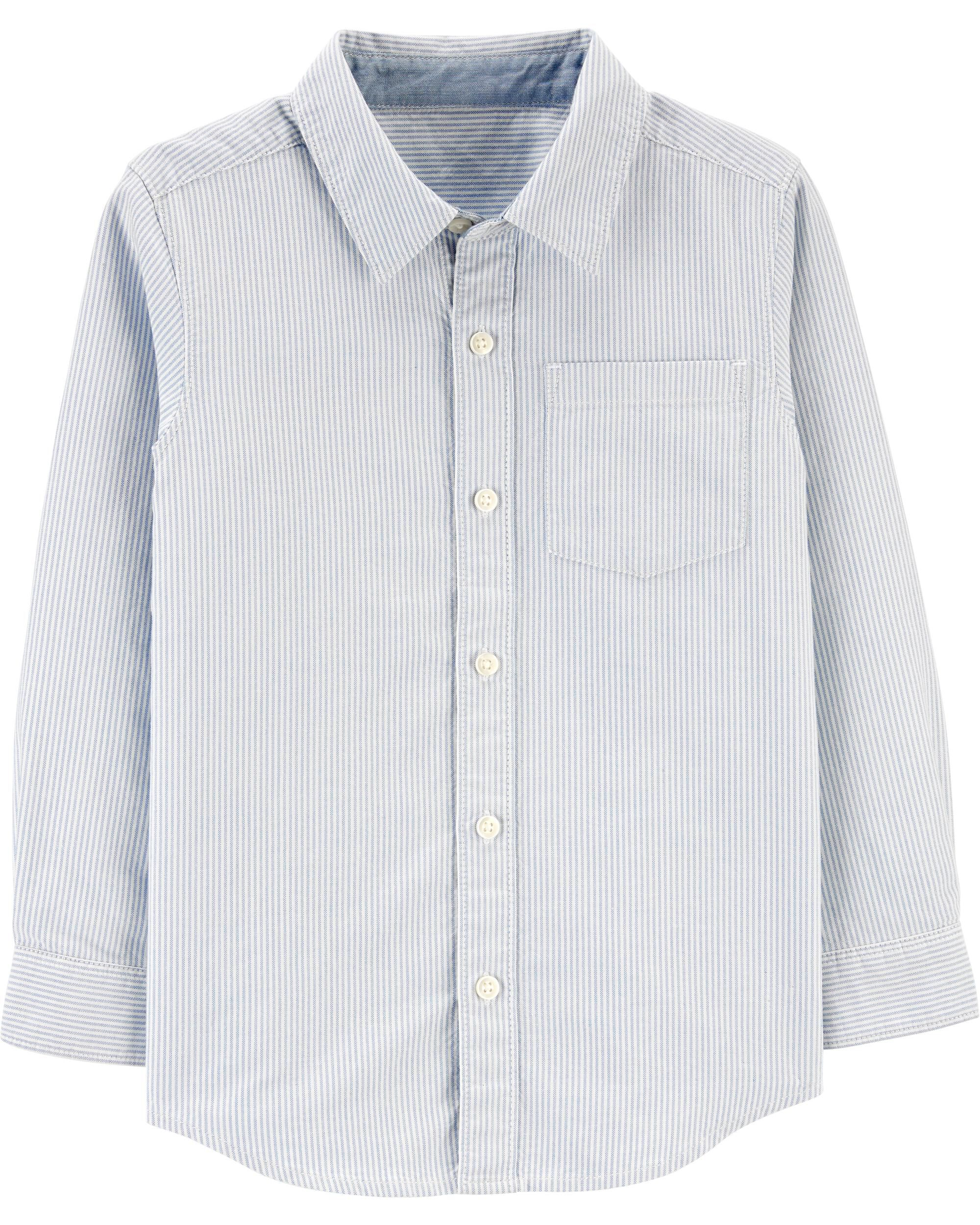 *CLEARANCE* Striped Oxford Button-Front Shirt