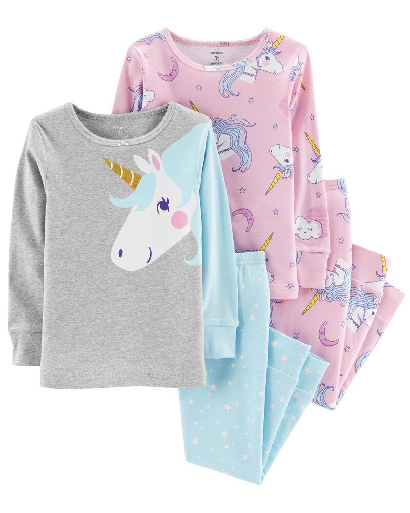 Carters Toddler and Baby Girls 4 Piece Cotton Pajama Set Unicorn, 3T
