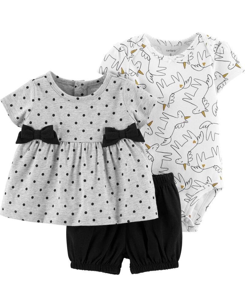 Pant Carter/'s 3 Piece Unicorn Set for Baby Girls Jacket One-Piece Bodysuit