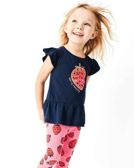 045e96ce6be3c 2-Piece Glitter Strawberry Top & Legging Set | Carters.com