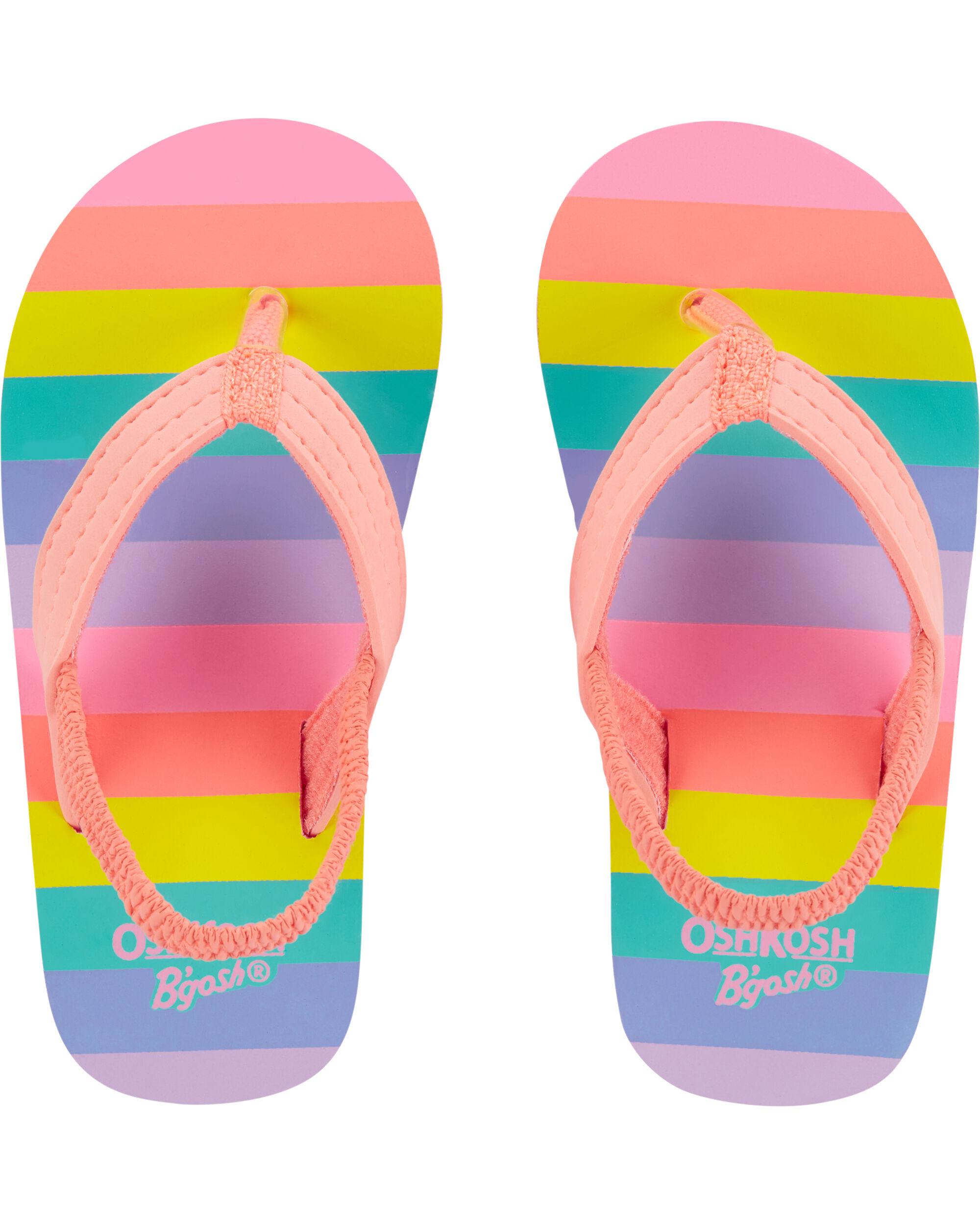 pink striped Carter/'s Summer Flip-Flops Shoe for Baby Toddler girl