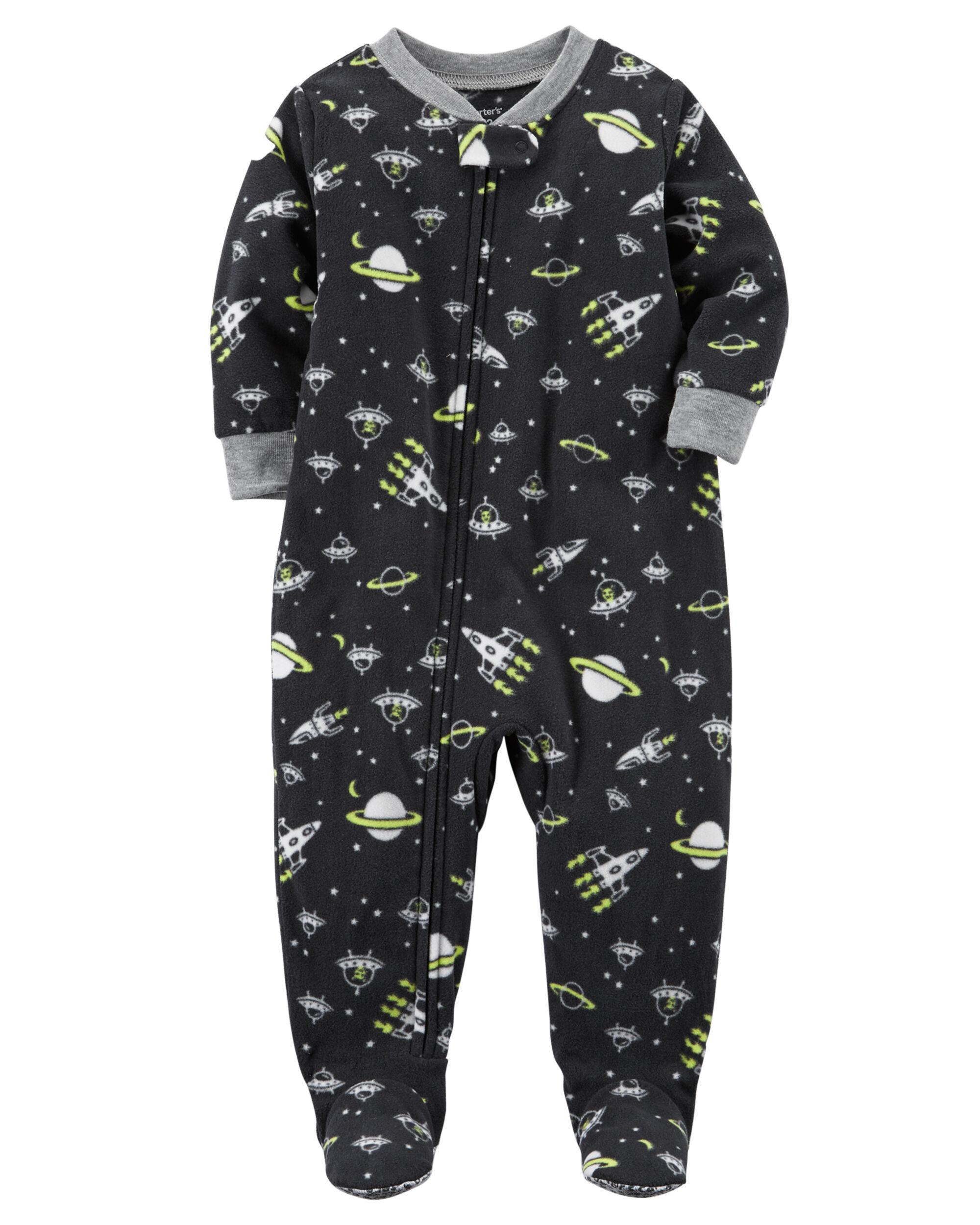 Carters Boys 12M-10 Space Fleece Pajamas Black 3T