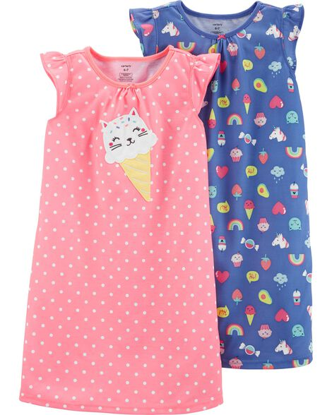 2 Pack Kitty Ice Cream Nightgowns Carters Com