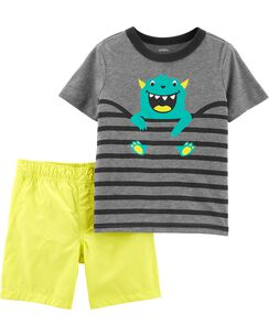 f48a8ef173e 2-Piece Monster Tee   Poplin Short Set