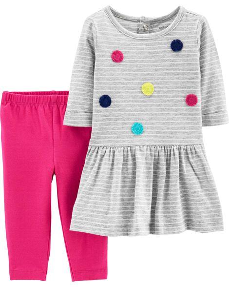 d2773b0ca6f7d 2-Piece Pom Pom Dress   Legging Set