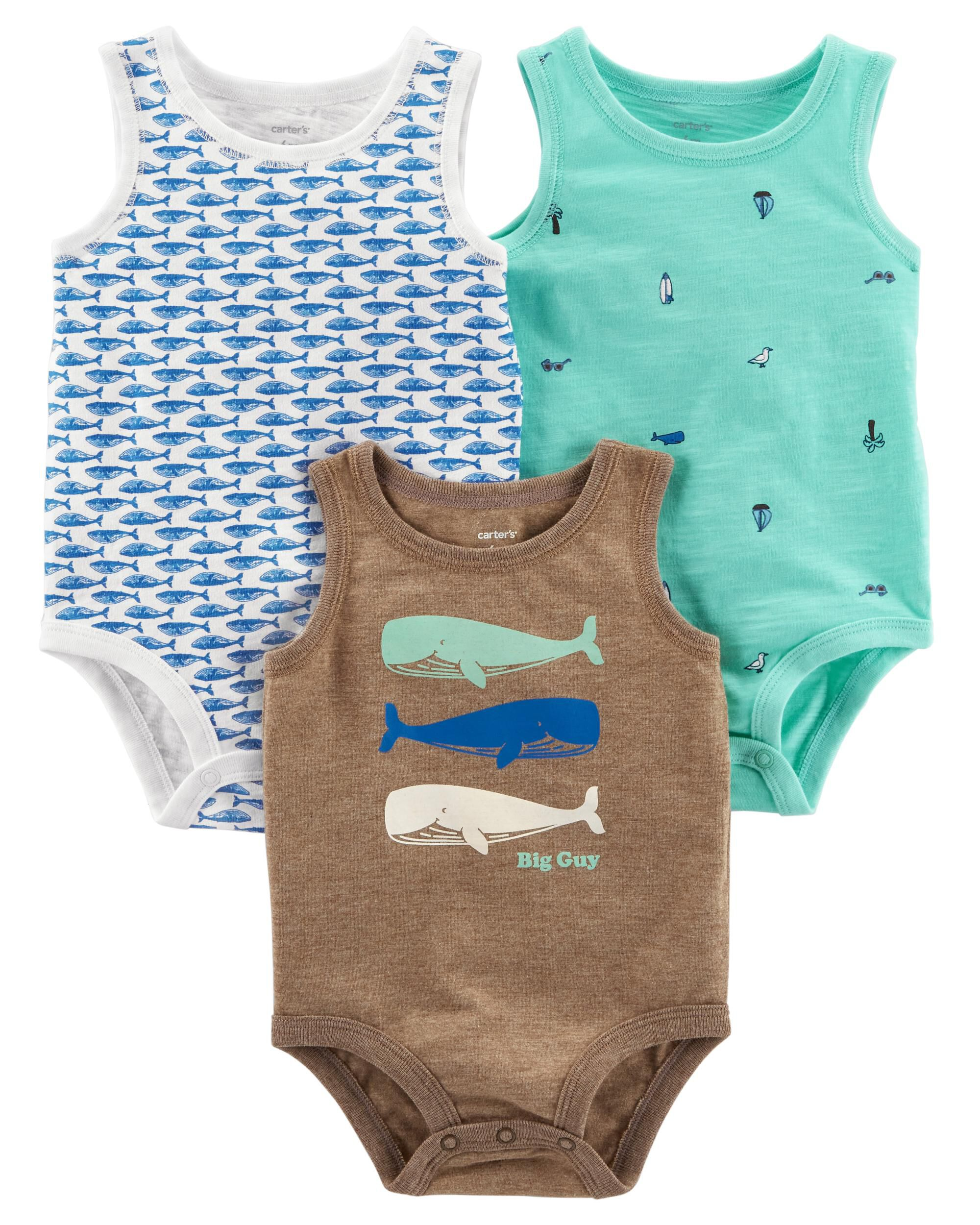 Sleeveless Exclusive Care Unisex Baby Bodysuit 3-Pack