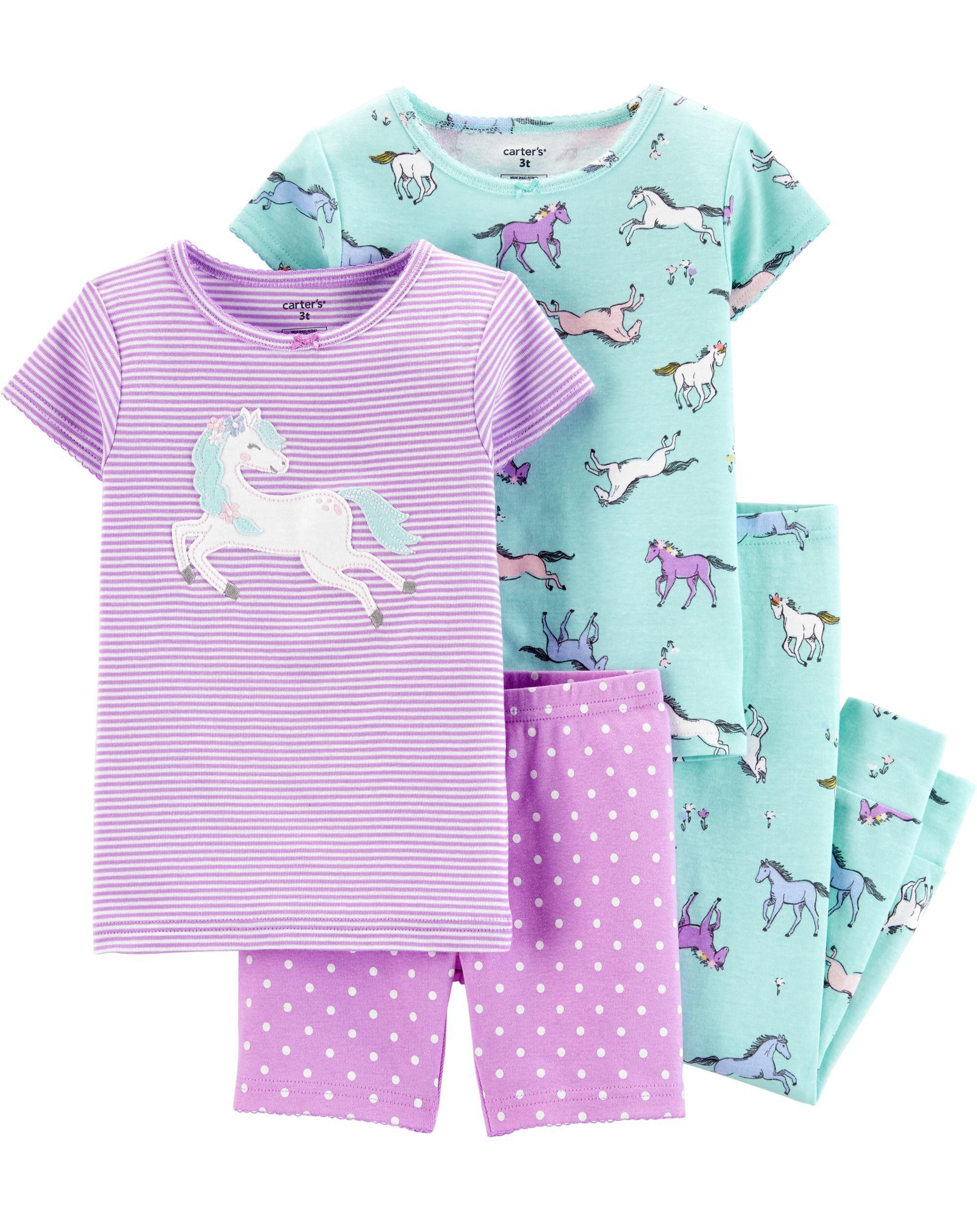 *CLEARANCE* 4-Piece Unicorn Snug Fit Cotton PJs
