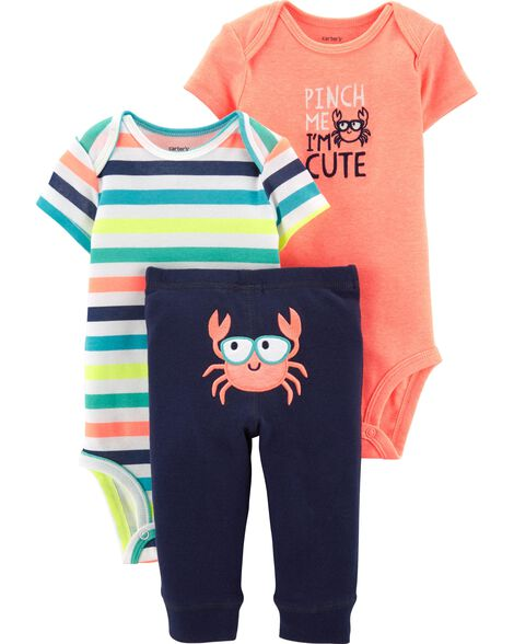 01d1a8e4d Baby Boy 3-Piece Neon Crab Little Character Set | Carters.com