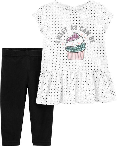 00e15a77fa128 2-Piece Cupcake Peplum Top & Legging Set | Carters.com