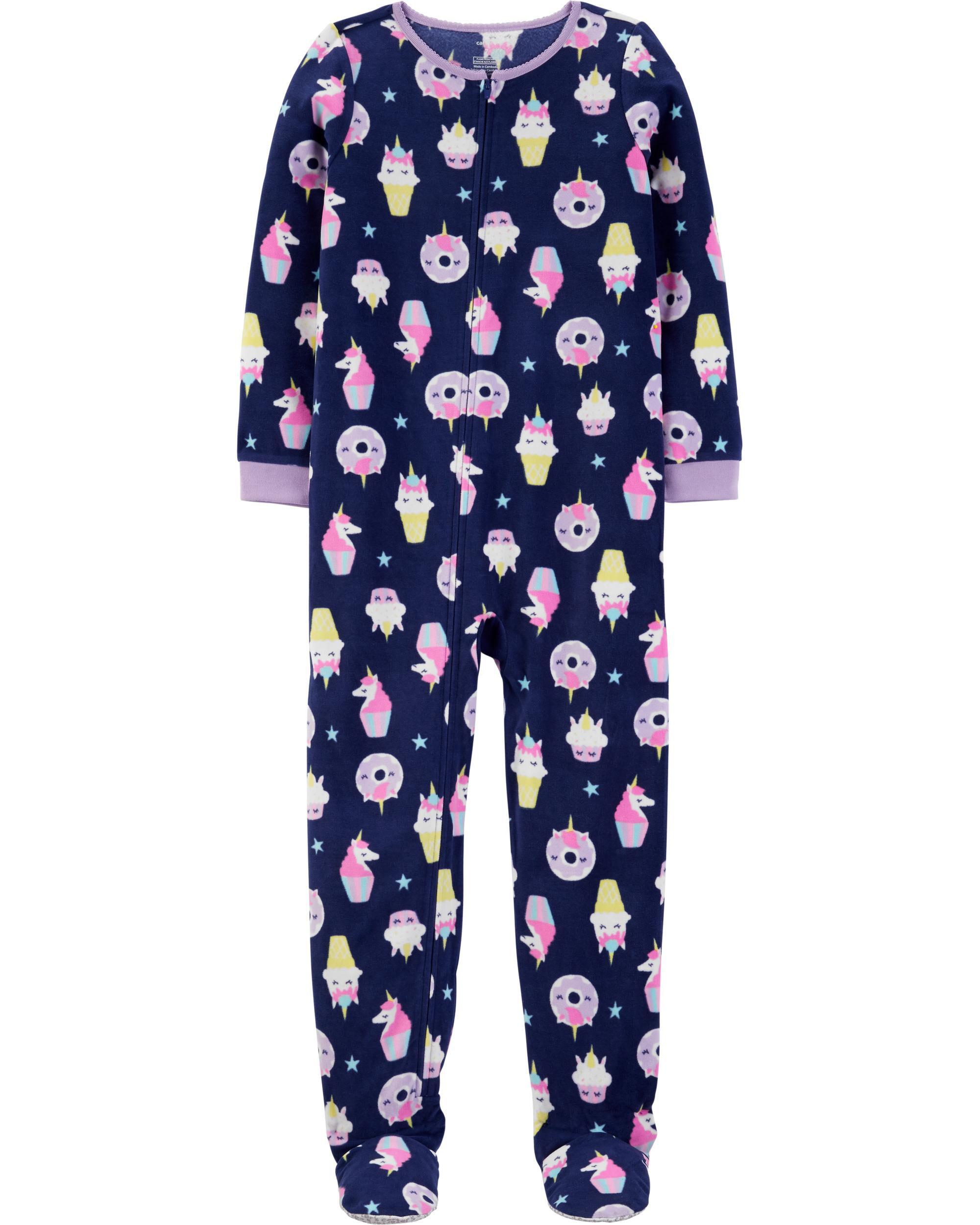 *DOORBUSTER* 1-Piece Unicorn Cupcake Fleece Footie PJs